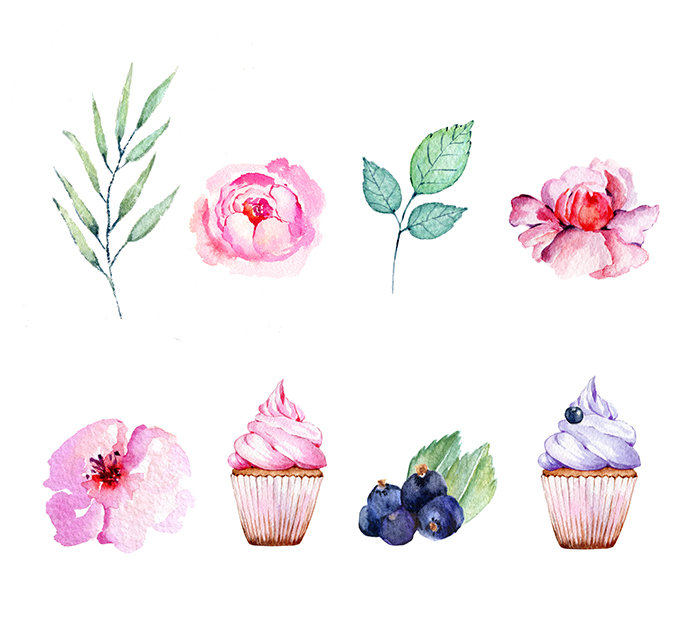 Baking clipart flower. Cake watercolor png bouquets