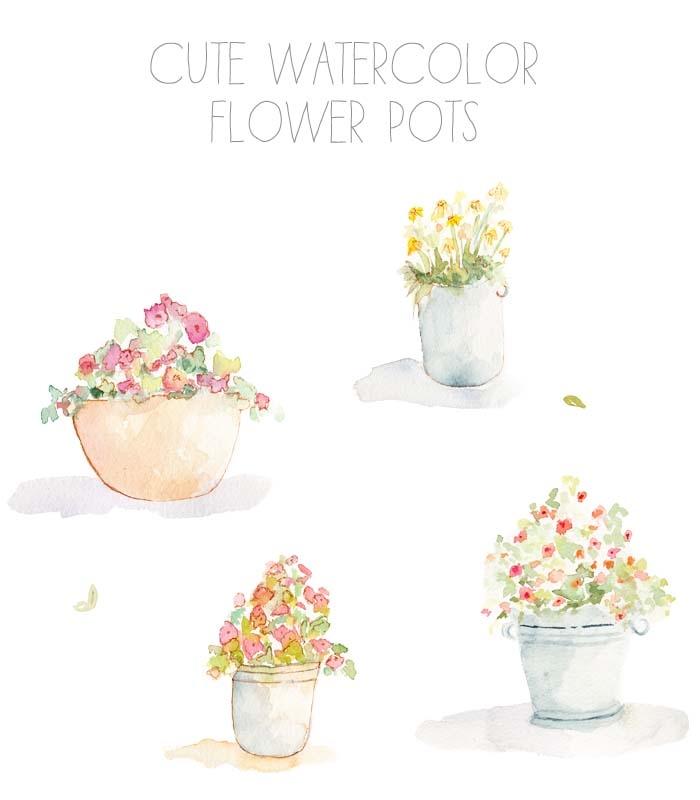 Baking clipart flower. Watercolor pot clip art