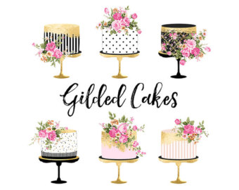 Baking clipart flower. Cake etsy gold foil