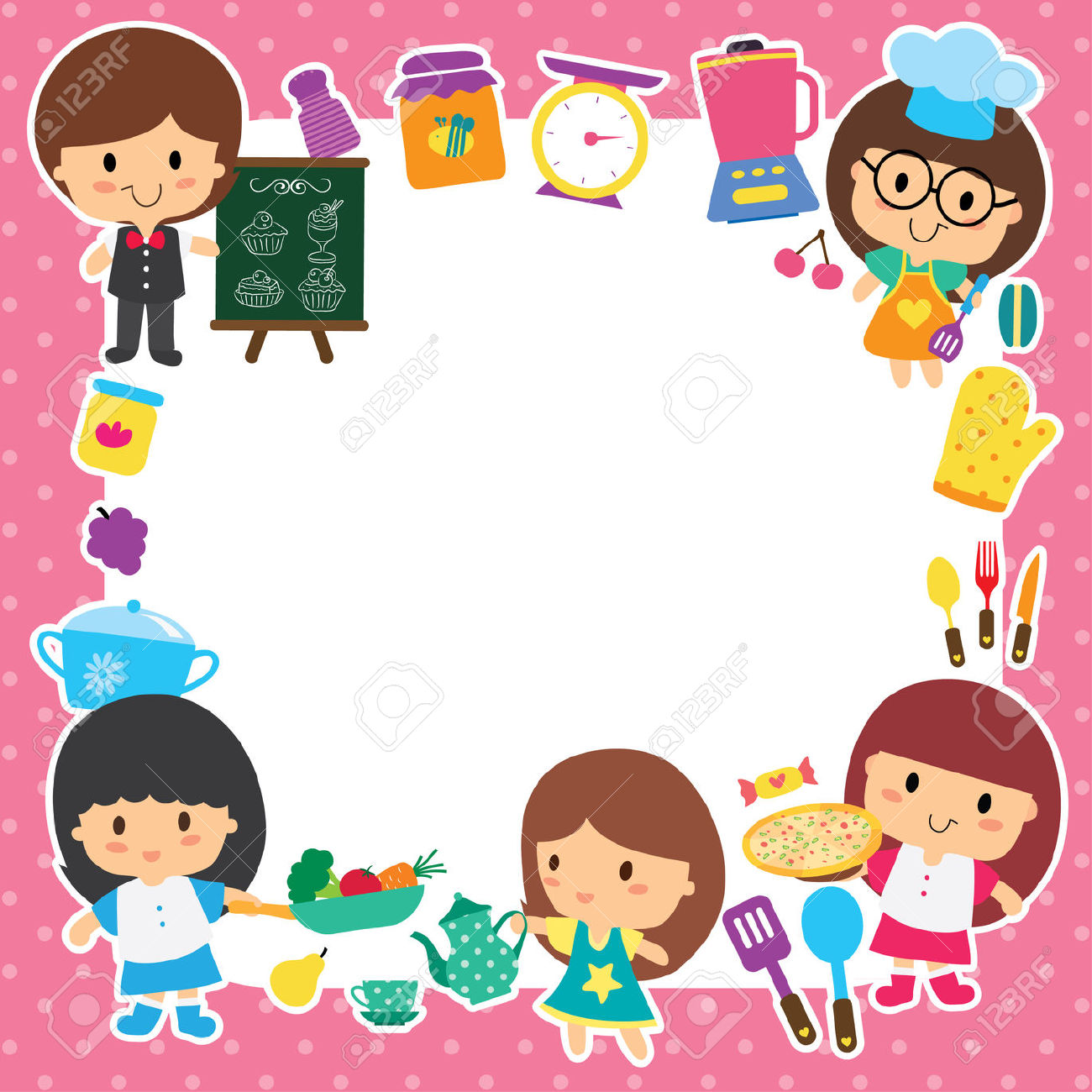 Baking clipart frame. Cooking borders and frames
