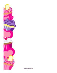 This printable border features a column of smaller colorful cupcakes