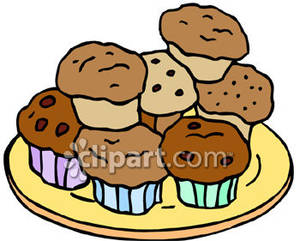 Baking clipart muffin. Plate of muffins royalty