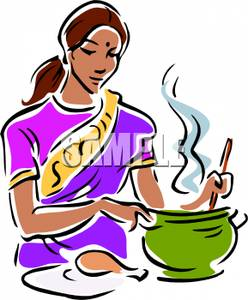 Baking clipart mum. Mother cooking drawing at