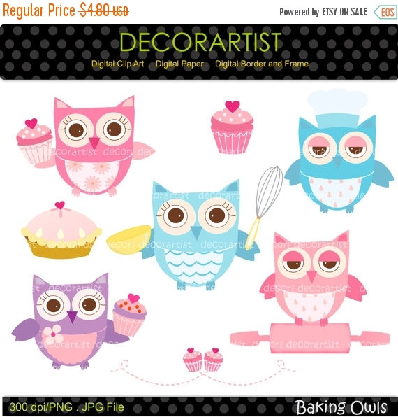 On sale digital owls. Baking clipart owl