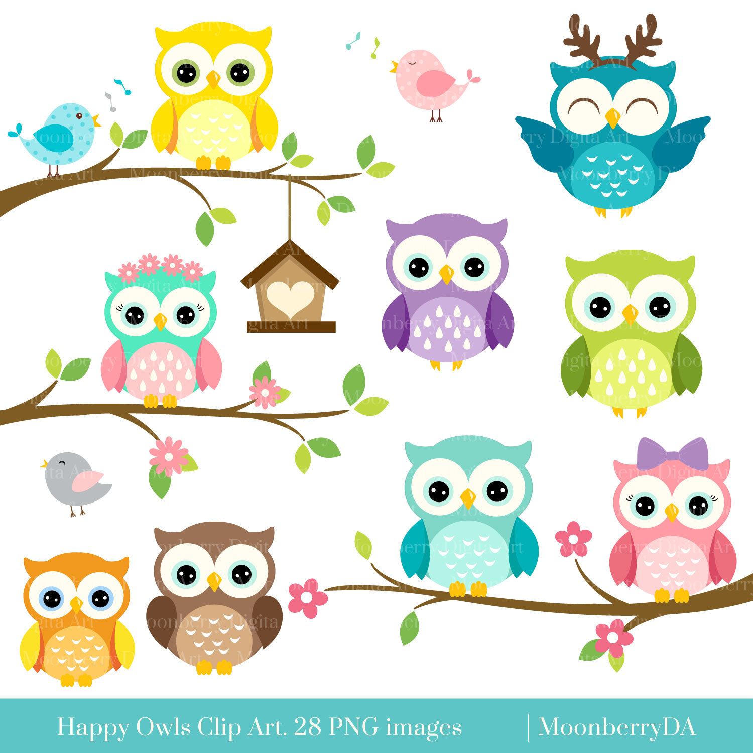 Baking clipart owl. Happy owls clip art