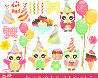 Owls birthday clip art. Baking clipart owl
