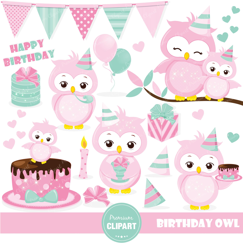 Baking clipart owl. Birthday pink clip art