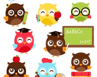 Baking clipart owl. Owls set clip art