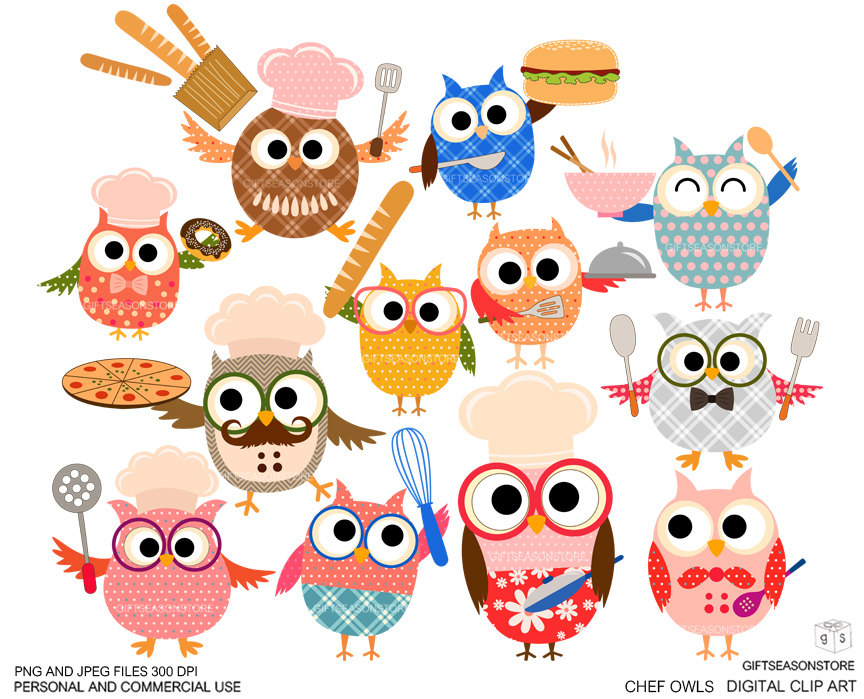 Baking clipart owl. Cooking pencil and in