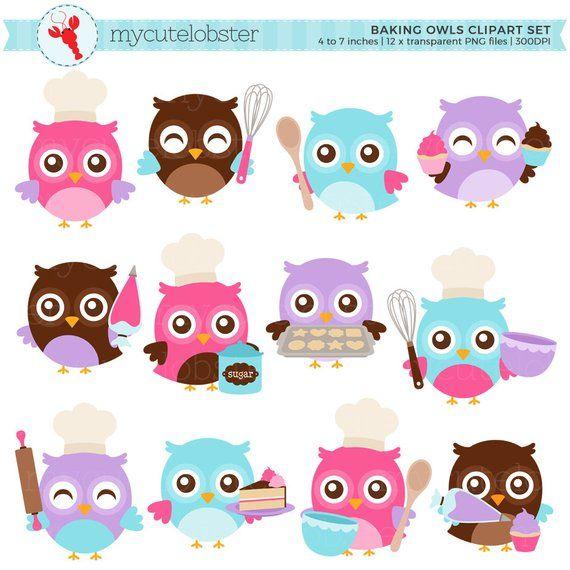 Owl clipart cupcake. Baking owls set clip