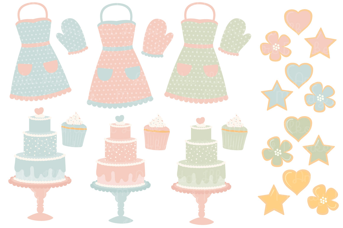 Baking clipart pastel. Vectors by amanda ilkov
