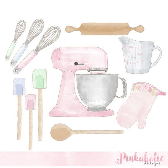 Set watercolor vintage by. Baking clipart pastel