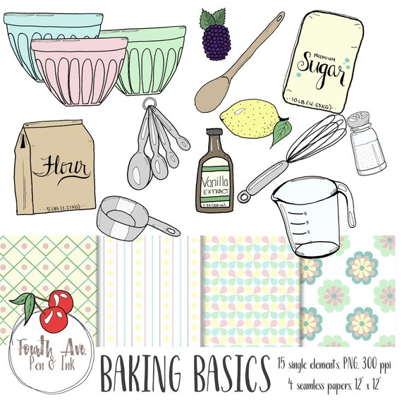 Baking clipart pastel. Tools ingredients hand drawn