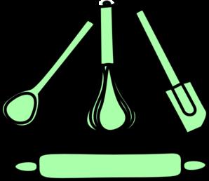 Baking clipart pastel. Bakery utensils green clip