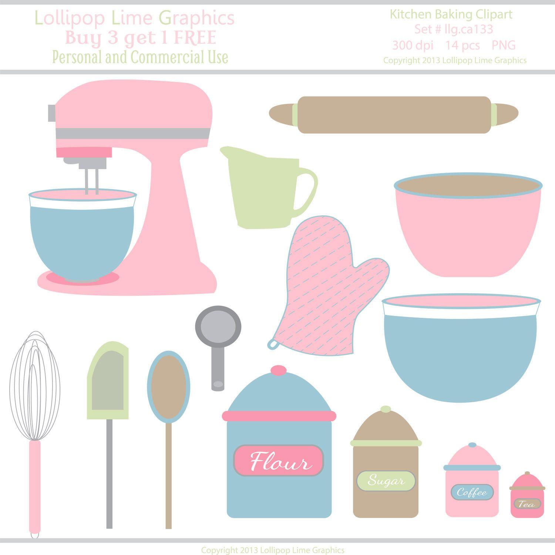 Kitchen pink mixer bowls. Baking clipart pastel