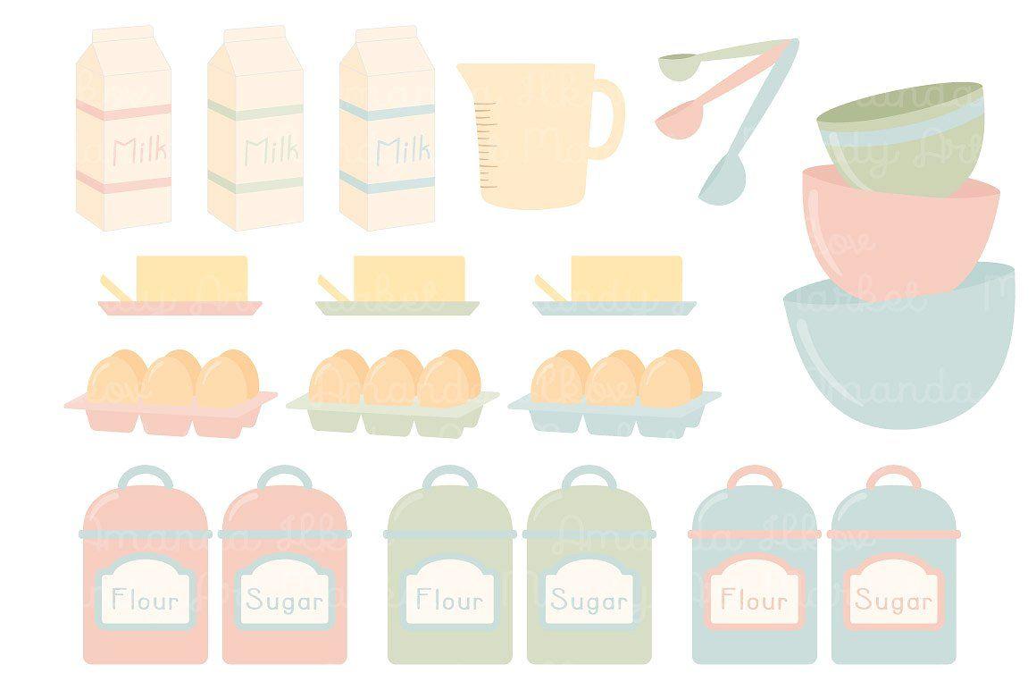 Soft easy pop background. Baking clipart pastel