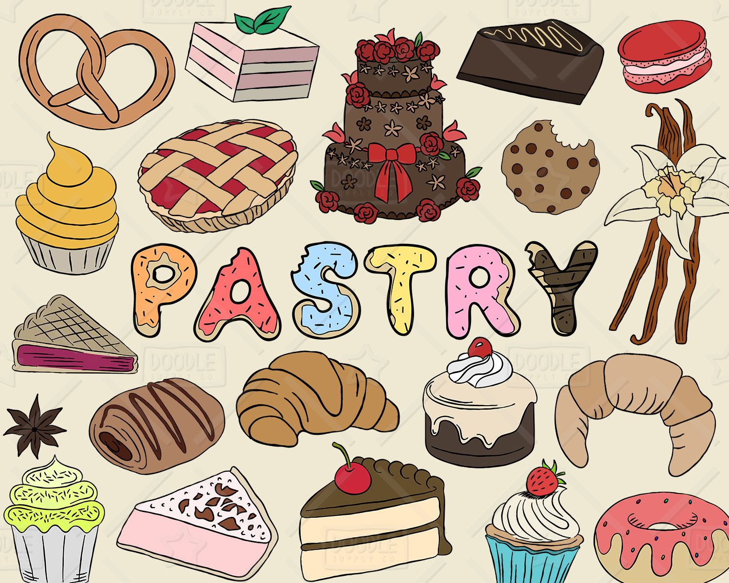 Vector pack bakery sweets. Baking clipart pastry