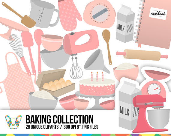 Collection kitchen cake mixer. Baking clipart pastry