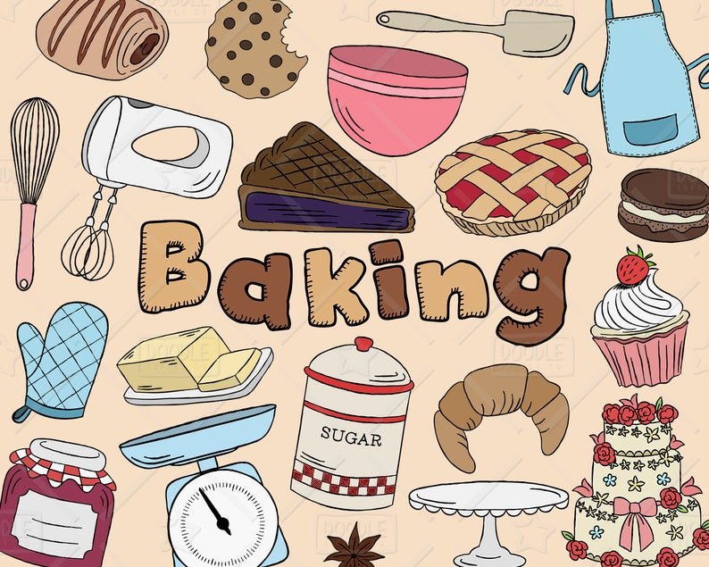 Vector pack kitchen cake. Baking clipart pastry
