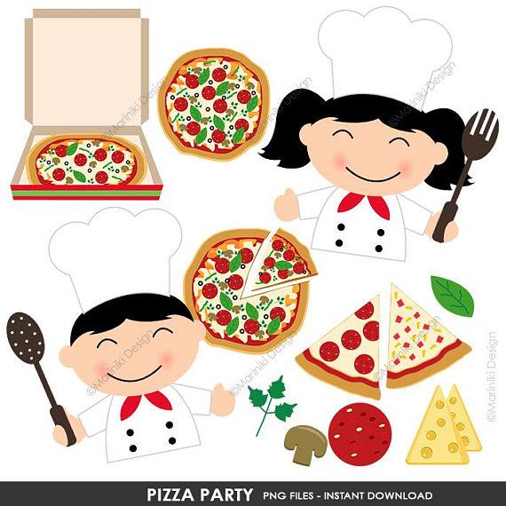 Party clip art chef. Kids clipart pizza