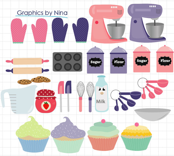 INSTANT DOWLOAD Baking Tools cupcake clipart Scrapbook for Personal
