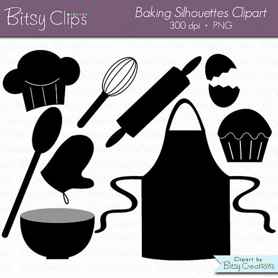 Silhouettes digital art set. Baking clipart silhouette