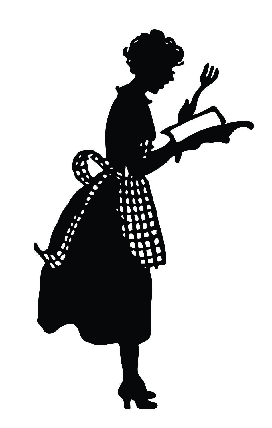 Vintage cute lady in. Baking clipart silhouette