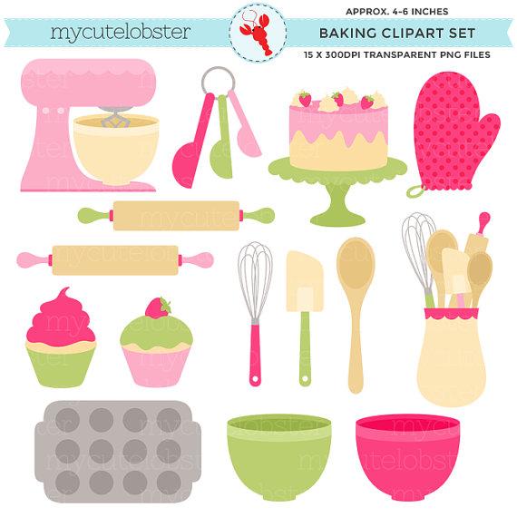 Green baking set clip. Bowl clipart pink