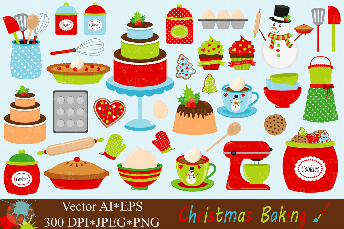 Baking clipart vector. Christmas by vr design