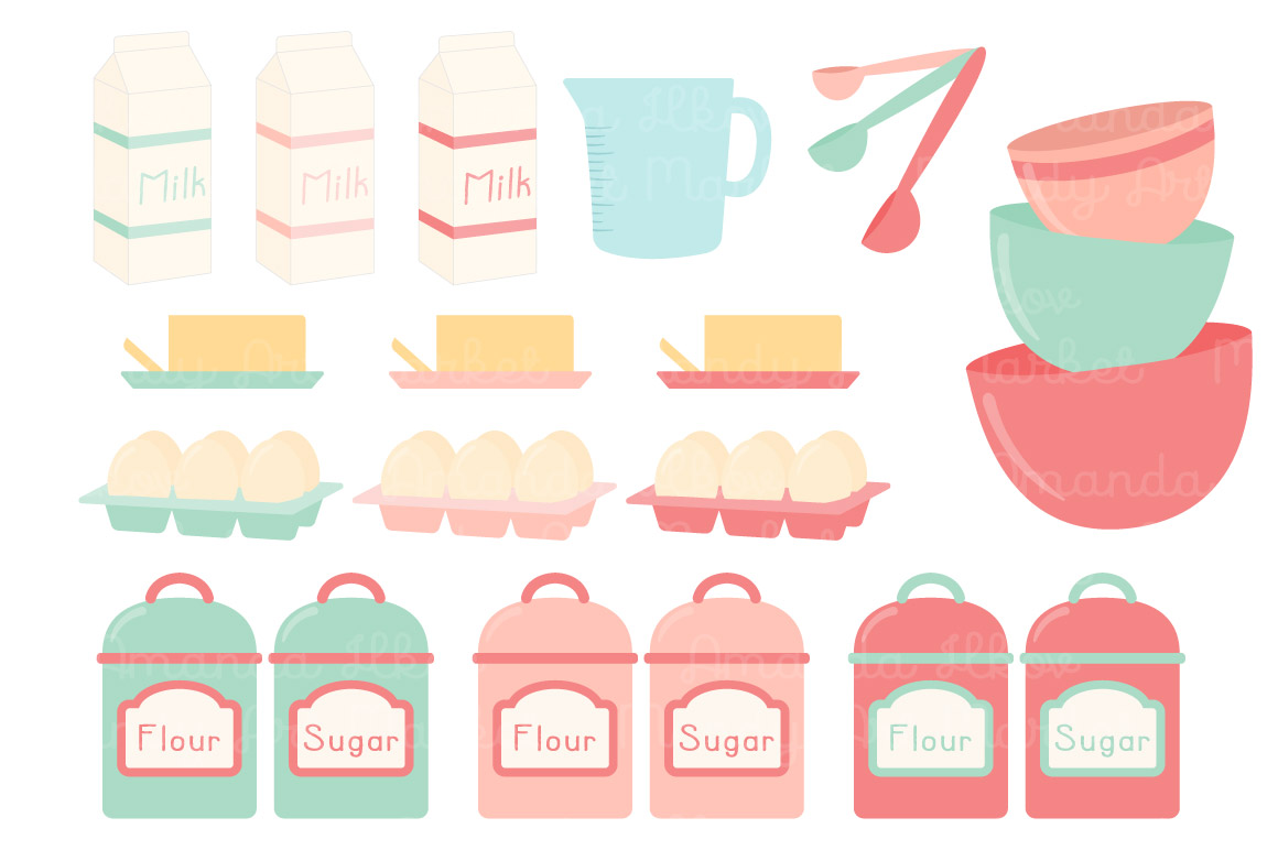 In mint coral by. Baking clipart vector