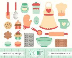 Retro cooking digital set. Baking clipart vector