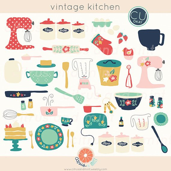 Kitchen clip art digital. Baking clipart vintage