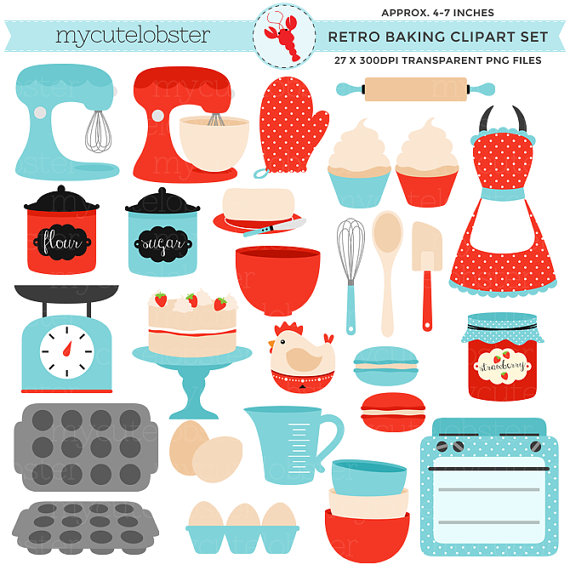Set retro kitchen red. Baking clipart vintage