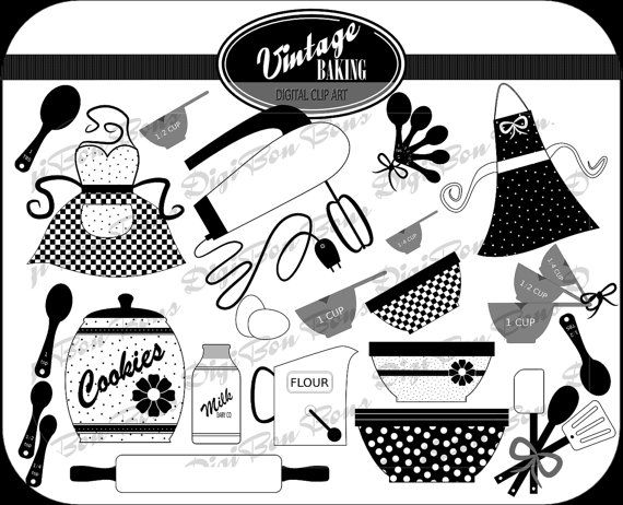 Digital clip art in. Baking clipart vintage