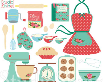 Baking clipart vintage. Retro etsy cooking digital