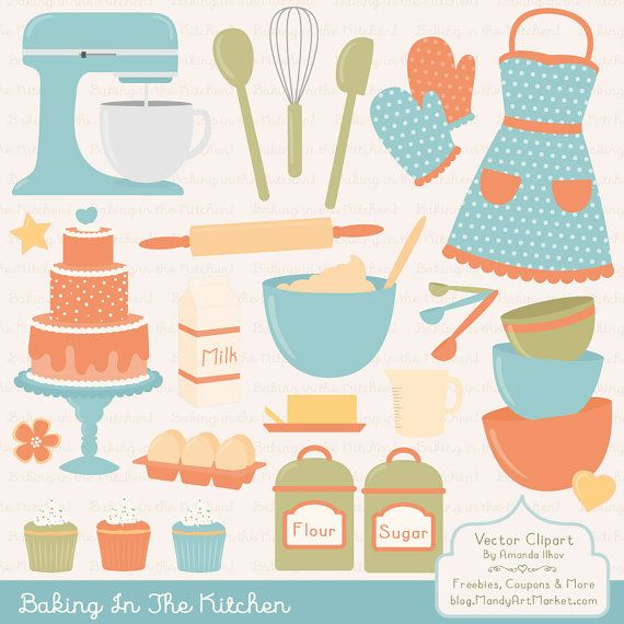 Professional vectors in kitchen. Baking clipart vintage