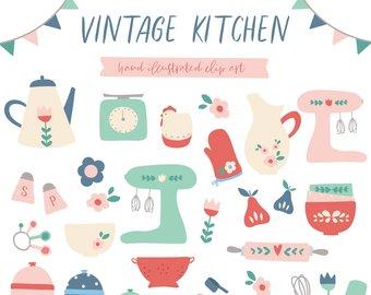 Retro etsy . Baking clipart vintage