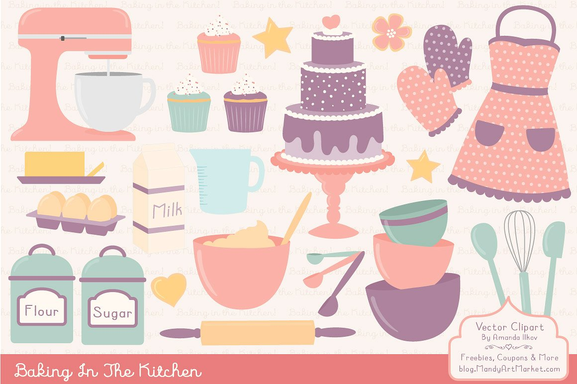 Baking clipart vintage. Vectors illustrations creative market