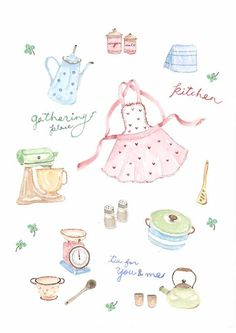 Baking clipart watercolor. Clip art vintage ingredients