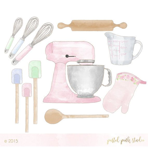 Baking clipart watercolor. Set pastel vintage baker