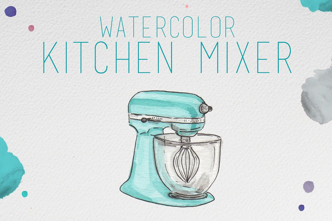 Kitchen mixer illustrations creative. Baking clipart watercolor