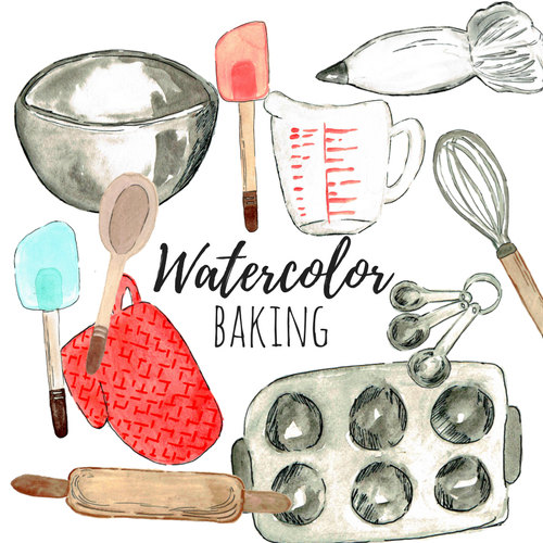 Baking clipart watercolor. Clip art cooking food