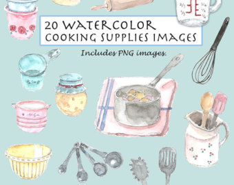 Clip art vintage ingredients. Baking clipart watercolor