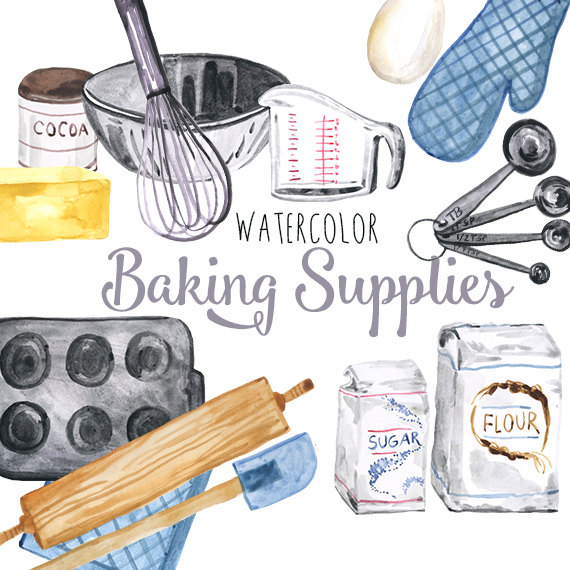 Supplies culinary clip art. Baking clipart watercolor