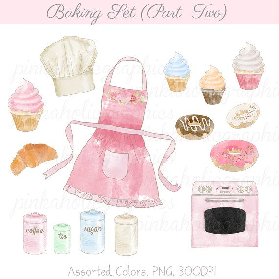 Baking clipart watercolor. Set pastel vintage by