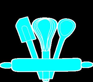 Blue kitchen utensils clip. Baking clipart whisk