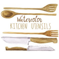 Kitchen utensils watercolor art. Baking clipart wooden spoon