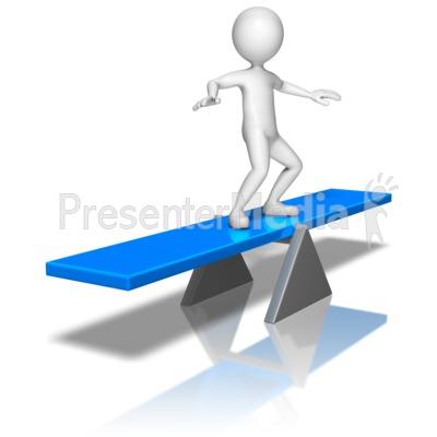 Stick figure on panda. Balance clipart balance board