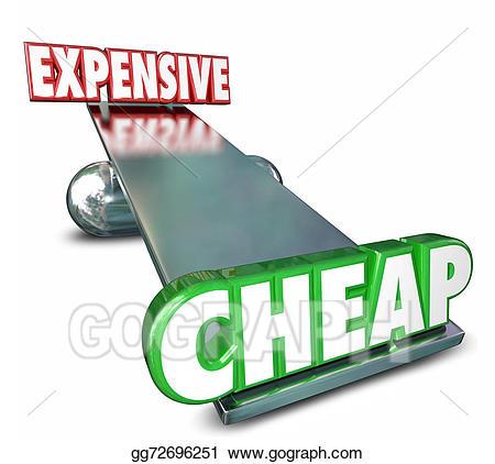 Drawing cheap vs expensive. Balance clipart comparison