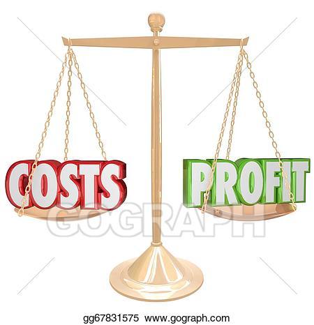 Balance clipart comparison. Stock illustrations costs vs